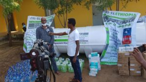 2 - Fri-El Ethiopia's farm Manager, Mr. Gumataw Ali giving interview about the pandemic and Fri-El Ethiopia's contribution in dealing with the spread of the pandemic.